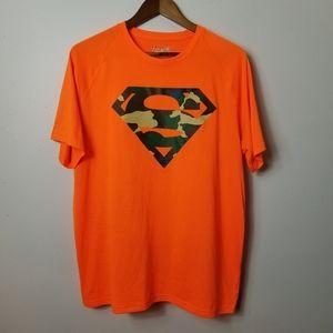 Under Armour large orange and camo superman shirt